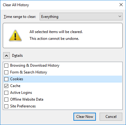 Old Firefox Clear Browsing Cache Options