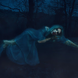 Spirit in the wood by Vincent Yates - Digital Art People ( ghost, night, spirit, tree, mist, lying down )