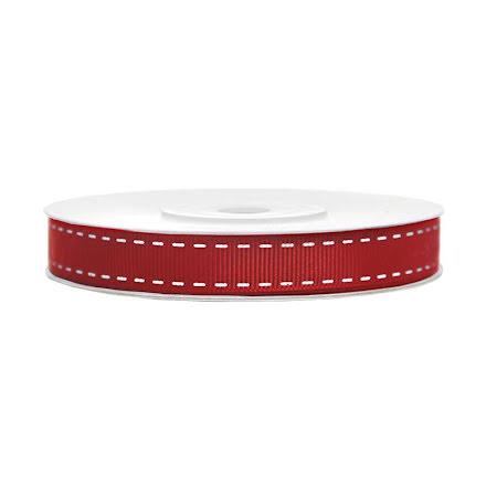 Grosgrainband - rött med vita detaljer