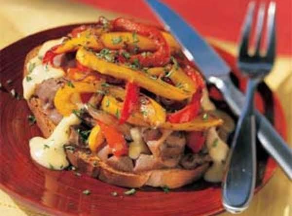 Open-faced Saucy Philly Cheesesteak Sandwich Recipe