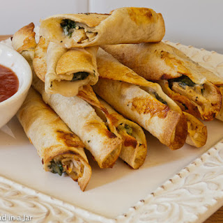 Crispy Chicken and Spinach Flautas