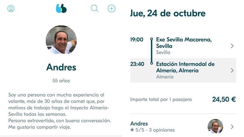 Capturas del perfil del parlamentario andaluz en BlaBlaCar y del viaje que ofrece para este jueves.