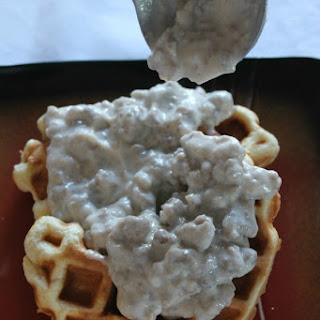 Biscuit Waffles and Maple Sausage Gravy