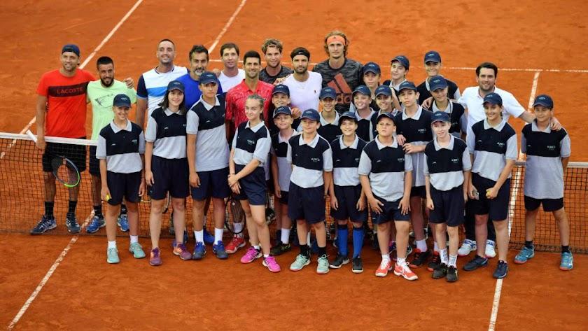 Novak Djokovic, Filip Krajinovic, Alexander Zverev, Grigor Dimitrov, Dominic Thiem y otros participantes del Adria Tour.