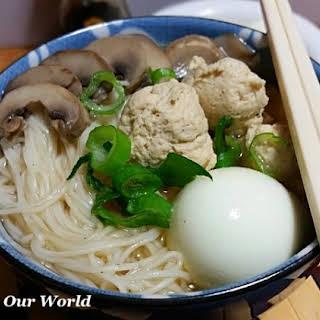 Longevity Noodles with Chicken Meatballs.