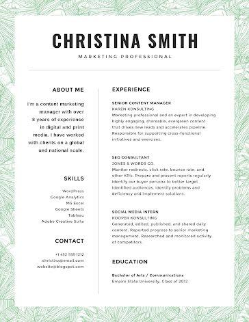 Christina J. Smith - Resume Template