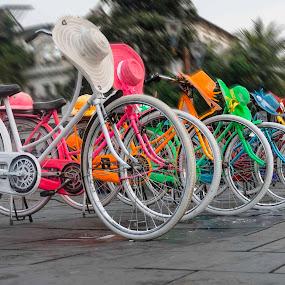 bicycle rental by Miko Adji - Transportation Bicycles ( 2015, indonesia, jakarta, kota tua, bicycle )