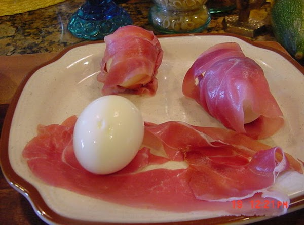 MAKE THE PROSCIUTTO EGGS Place eggs from the fridge into a sauce pan and cover...