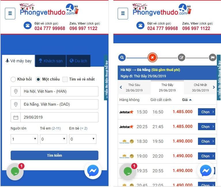 giao diện đặt vé trên di động của phongvethudo.com