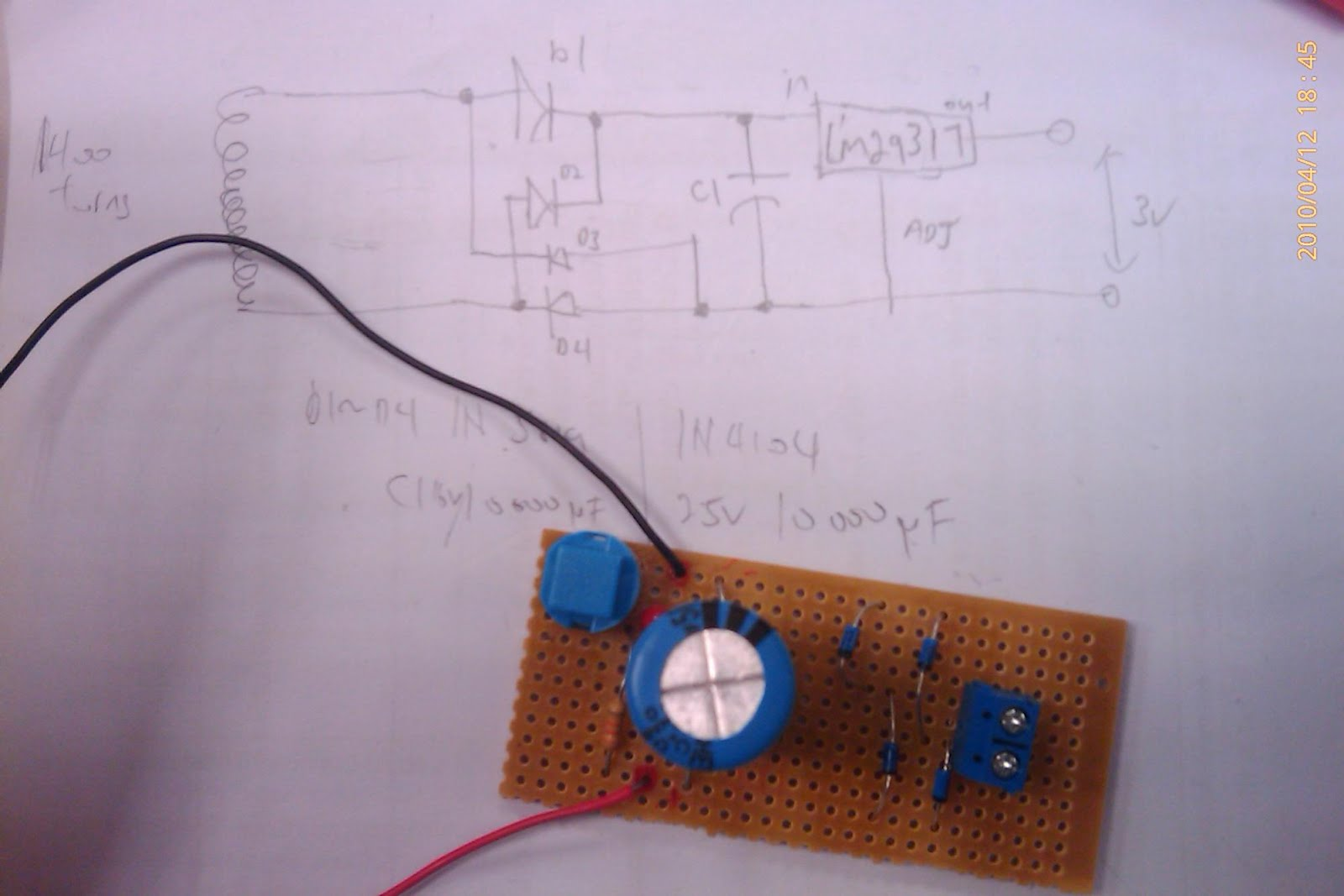 A voltage regulator LM29317 can be added too. Ai Ling the TSO is kind  enough to provide me the components. thx!!. This circuit gave me about 3v  across the ...