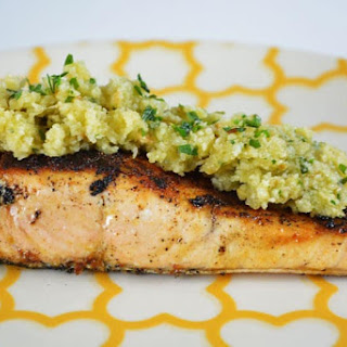 Grilled Salmon with almond sauce.