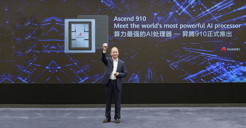 Eric Xu, Huawei's rotating chairman, announcing the release of the Ascend 910 AI processor and MindSpore AI computing framework.