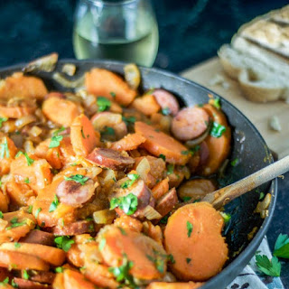 Sweet Potato, Caramelized Onion, and Sausage Goulash