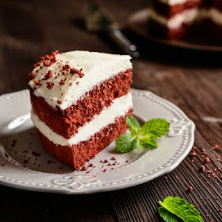 Red Velvet Cocoa Cake With Ice Cream Filling And Buttercream Frosting.