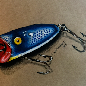 Blue Bomber by Dave Feldkamp - Drawing All Drawing ( spots, hooks, fishing lure, art, sports, white, sport, yellow, lure, drawing, pencil, lures, colored pencil, red, blue, fishing, treble hooks, pencils,  )