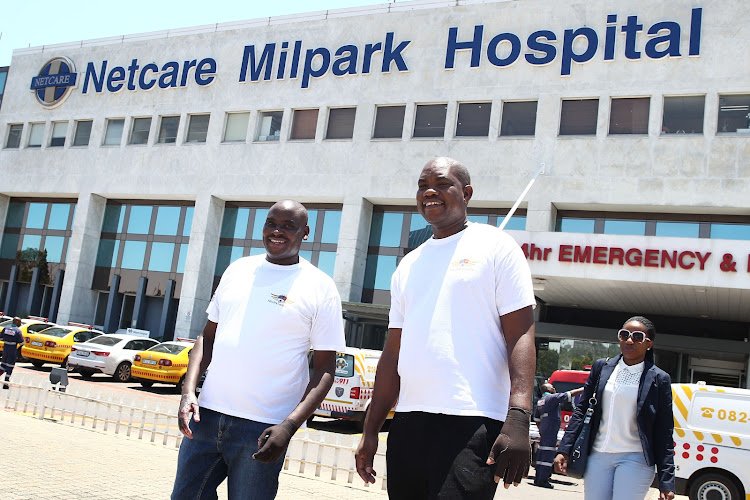 Livhuwani Maumela and Moleko Issac Bereng, wounded in the Bank of Lisbon fire, are released from Milpark Hospital on Monday, November 5.