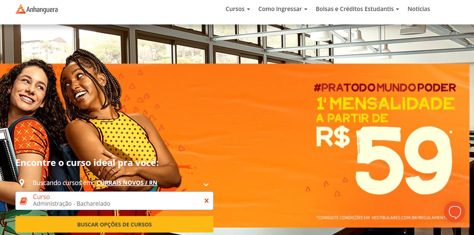 página da anhanguera no vestibulares.com.br e busca de cursos na cidade de currais novos