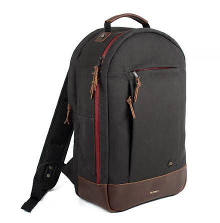 BillyBelt Backpack black canvas burgundy zipper brown leather