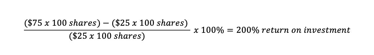Formula for Return of Investment