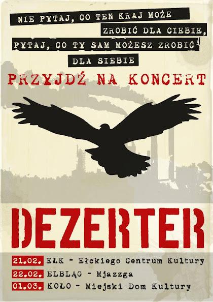 Dezerter plakat trasy luty-marzec 2014