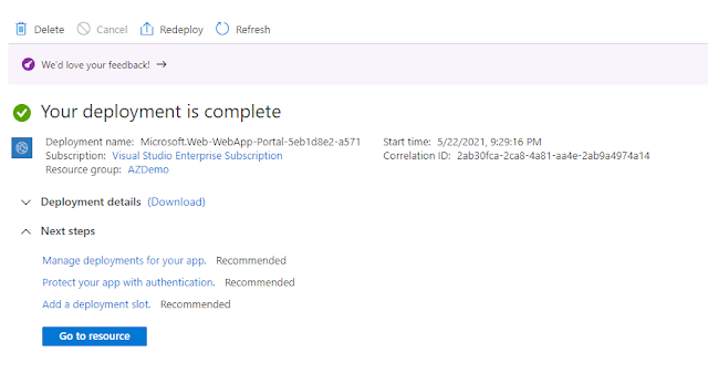 Create an App Service by using Azure Portal