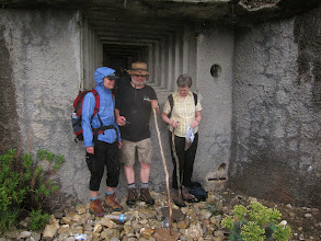 Photo: We find a ruined WW II fort just as the heavy rain begins.
