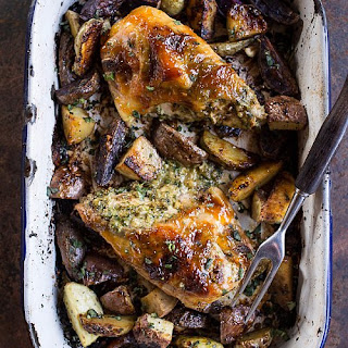One-Pan Apricot-Glazed Walnut-and-Brie-Stuffed Chicken Breast With Roasted Potatoes