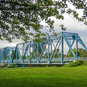 Tindle Bridge by Judy Soper - Buildings & Architecture Bridges & Suspended Structures ( blue, fremont, tindle, bridge, ohio, water, suspension, andusky river )