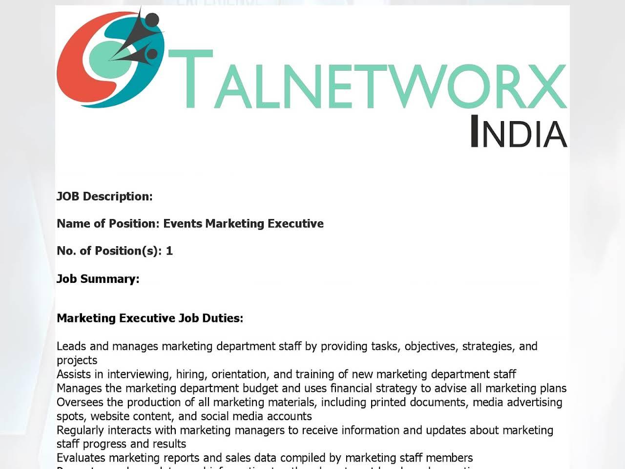 Event Marketing Executive Job Description - The Best Of Market 2018