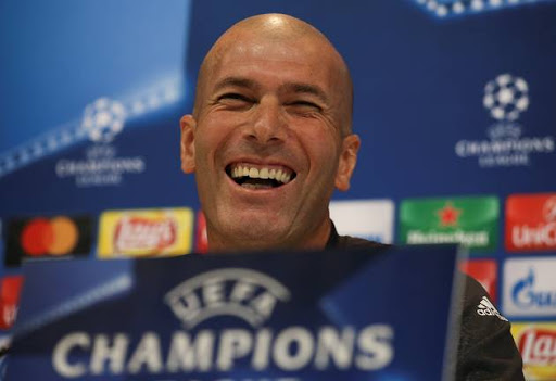 Real Madrid's coach Zinedine Zidane attends a news conference.