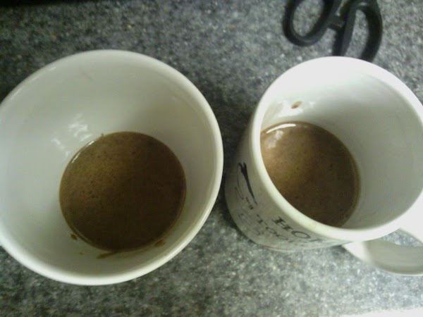 Pour half in each mug, add chocolate chips at this point!