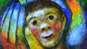 peinture, enfant dans les mains du père