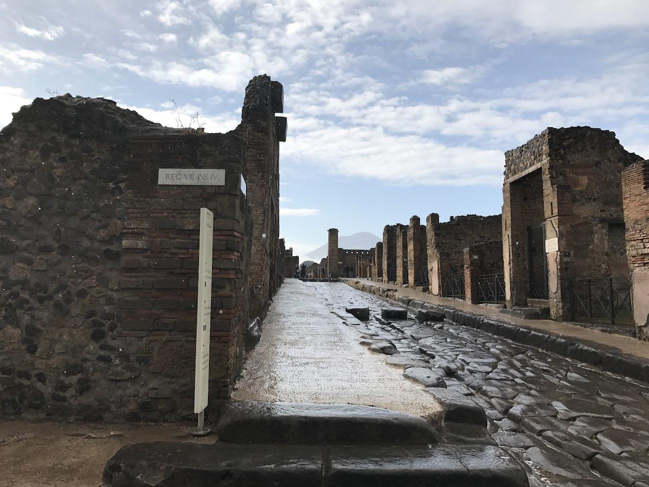 Les rues de Pompéi après l'averse
