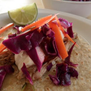 Pork Shoulder Tacos with Chipotle Greek Yogurt and Coleslaw