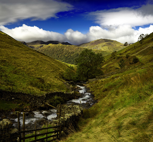 Lake District, Cumbria, England by Peter Greenhalgh - Landscapes Mountains & Hills ( clouds, hills, mountains, helvellyn, england, blue sky, cumbria, hayswater gill, lake district )