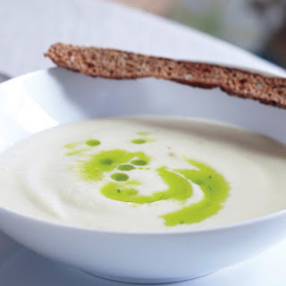 Cauliflower Soup with Chive Oil and Rye Crostini