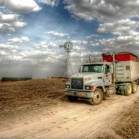 Truckin' by Japie Scholtz - Transportation Automobiles ( clouds, hdr, truck, sports car, dam, dark, weather, road, racecar, hot rod, rain, windmill )