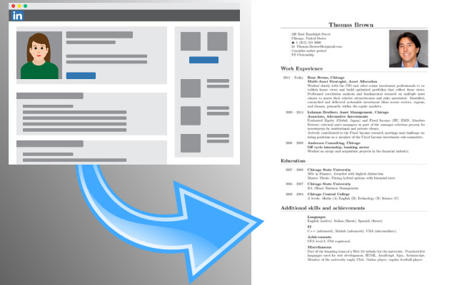 Linkedin to CV by Seeveeze