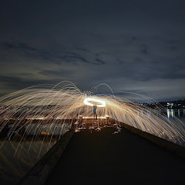 Steel Wool Photography  by Sarah Shinners - Abstract Light Painting ( washington, fire spinning, night photography, steel wool, lake washington, night, long exposure )
