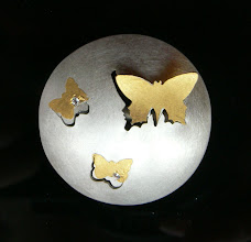 Photo: Karin Sheldon, Constellation Butterfly button, silver, gold and diamonds