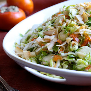 Shredded Brussels Sprouts Salad with Persimmon, Jicama, and Coconut Chips - gluten free, dairy free, egg free, nut free.