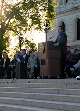 Photo: Gov. Tim Pawlenty speaks during a ceremony held in front of Capitol Building for Minnesota State's Sesquacentennial.