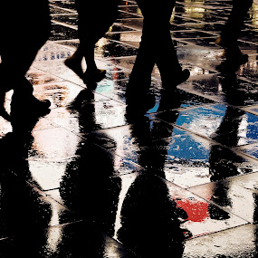 wet crowd by Adrian Konopnicki - City,  Street & Park  Street Scenes ( reflection, wet pavement reflection people, color, street, night, wet, people, rain, pavement )