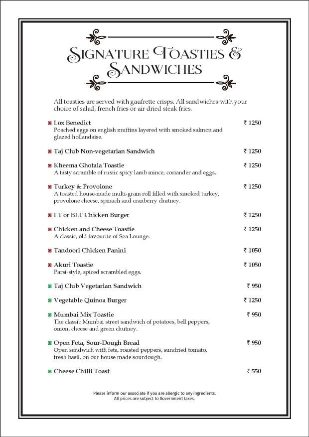 Sea Lounge - The Taj Mahal Palace menu 13