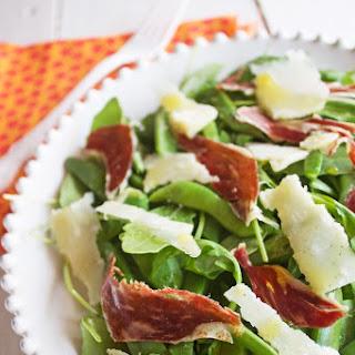 Arugula Salad with Iberian Ham and Parmesan.