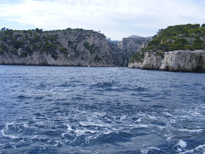 "Photo: The third calanque we visit is En Vau (""in the valley""). The cliffs up to 430 feet high are popular with rock climbers worldwide."