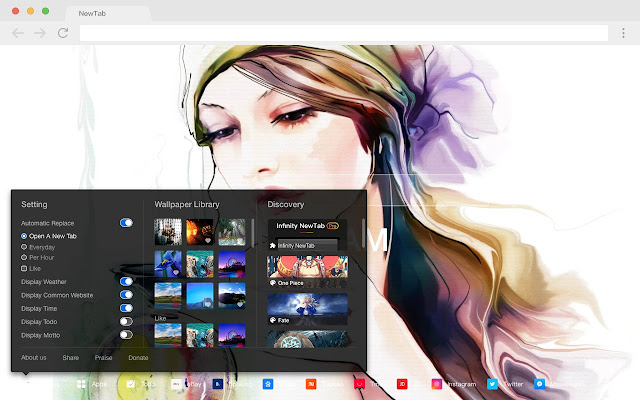Watercolor pop painting HD new tab page theme