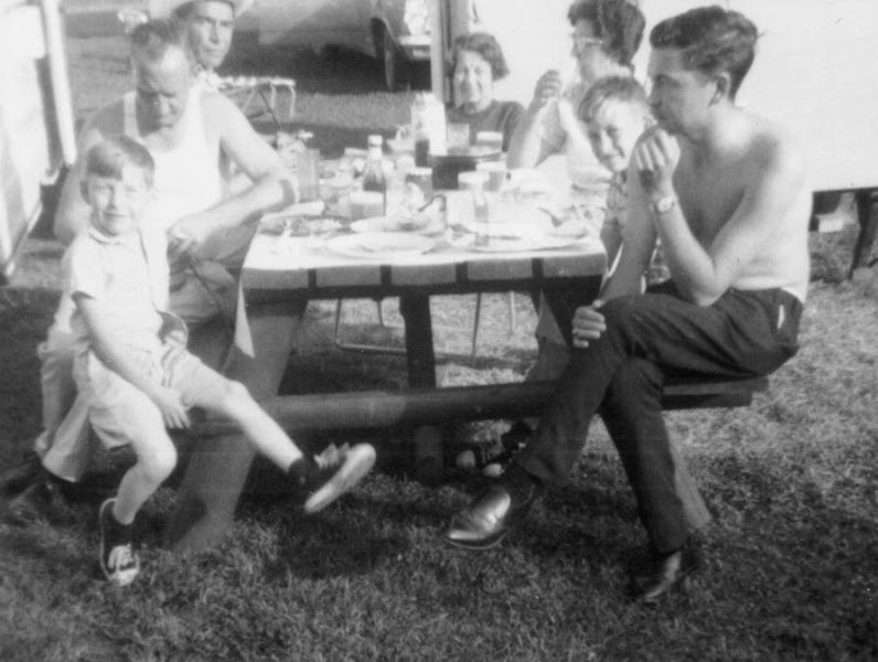 Photo: Picnic with aunt and uncle in back. Circa 1962.