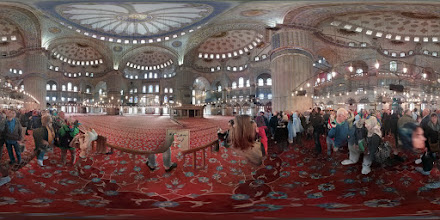 Photo: Inside the Blue Mosque. Muslims know how to do carpet really, really well. It's clean, soft and beautiful. They also know how to build huge buildings with beautiful domes.