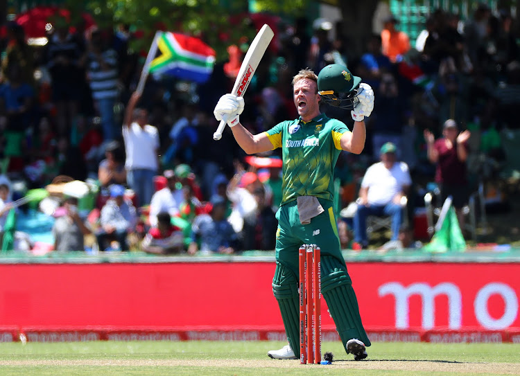 AB de Villiers of South Africa celebrates his 100 during the Second ODI Cricket match between South Africa and Bangladesh at Boland Park, Paarl on 18 October 2017.
